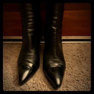 Designer knee high leather boots